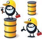 Mascot,Oil,Oil Industry,Men,Hardhat,Miner,Mining,Oil Drum,Working,Human Face,Vector,Lighting Equipment,Smiling,Characters,Manual Worker,Yellow,Black Color,Fun,Drop,Barrel,Humor,Ilustration,White Background,Cute,Showing