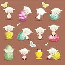 Sheep,Easter,Lamb,Cartoon,Cute,Animal,Eggs,Springtime,Humor,Fun,Ilustration,Collection,Celebration,Holiday,Greeting,Clip Art,Illustrations And Vector Art,Set,Season,Vector Ornaments,Cheerful,Looking At Camera,Multi Colored,Playful