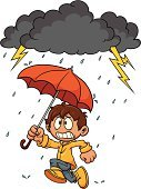 Thunderstorm,Fear,Child,Rain,Running,Characters,Little Boys,Umbrella,Raincoat,Cartoon,Cute,Vector Cartoons,Yellow,Vector,Isolated,Nature,Illustrations And Vector Art,Isolated On White,Orange Color