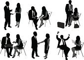 Meeting,Silhouette,Handshake,Business,Women,Professional Occupation,Suit,Black And White,Working,Brainstorming,Business,Set,Business People,Briefcase,Illustrations And Vector Art,Business Meetings,Men,Celebration,Outline,Standing,Laptop