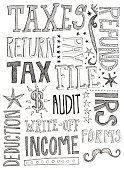 Tax Form,Tax,Internal Revenue Service,Doodle,Filing Documents,Refund,Single Word,Text,Drawing - Art Product,Finance,Ilustration,Sketch,Decoration,Crash,Form,graphic element,Black Color,Concepts And Ideas,Star Shape,Clip Art,Ornate,Business,Wages,hand drawn,White,deduction,hand lettered,Illustrations And Vector Art,Design Element,Paying,File
