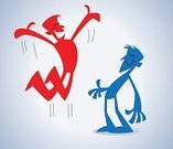 Joy,Jumping,Excitement,Stick Figure,Emotion,Men,Happiness,Cheerful,Red,Ilustration,News Event,Good News,Blue,Vector