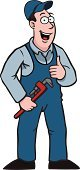 Plumber,Mechanic,Cartoon,Success,Occupation,Repairman,Holding,Work Tool,Wrench,Thumbs Up,Cheerful,Protective Workwear,Smiling,Baseball Cap,People,Agreement,Cap,Gesturing,Industry,Coveralls,Red,Brown,Ilustration,White,Positive Emotion,Construction,Male,Illustrations And Vector Art,Vector Cartoons,Vector,Men,Black Color,Repairing,Fun,Happiness,Expertise,One Person,Drawing - Art Product,Professional Occupation,Thumb,OK Sign,Pink Color,Color Image,Emotion,Clothing,Maintenance Engineer,People,Blue