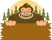 Yeti,Sasquatch Crossing Sign,Forest,Tree,Smiling,kawaii,Isolated On White,Sign,ISKawaii13,Wood - Material,Pine Tree,Cheerful,Woodland