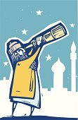 Hand-Held Telescope,Astronomy Telescope,Astronomer,Islam,Sky,Space,Night,Star - Space,Woodcut,Wisdom,Astronomy,Fortune Teller,Technology,Illustrations And Vector Art,Astrology,Concepts And Ideas,Dreamlike,Curiosity,Learning