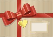 Bow,Brown Paper,Gift,Heart Shape,geschenkband,Surprise,Wrapping Paper,Label,Red,Gold Colored,Wrapped,Holidays And Celebrations,Recyclingpapier,Vector Backgrounds,Illustrations And Vector Art,Recycling,Decoration