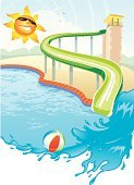 Swimming Pool,Slide - Play Equipment,Water,Summer,Tourist Resort,Recreational Pursuit,Spray,Happiness,Vector,Heat - Temperature,Built Structure,Computer Graphic,Sun,Cartoon,Ilustration,Wave,Sunbeam,Outdoors,Smiling,No People,Beach Ball,Composition,Travel Locations,Illustrations And Vector Art,Vertical,Leisure Activity,Summer,Vector Cartoons,Nature