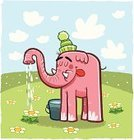 Elephant,Flower,Watering,Pink Color,Water,Bucket,Daisy,Daisy Family,Grass,Illustrations And Vector Art,Single Flower,Cap,Cloud - Sky,Animals And Pets,Vector Cartoons,blue sky,Hill,Animal Trunk,Wool