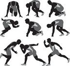 Starting Line,Track And Field,Men,Vector,Sports Race,Speed,Front View,Bending,On The Move,Multiple Image,Side View,Kneeling,Sport,Competitive Sport,Effort,Ilustration,Horizontal,Studio Shot,Sports Clothing,People,Full Length,Action,Vector Graphics,Healthy Lifestyle,Cut Out,White Background,Clip Art,Digitally Generated Image,Black And White,One Man Only,Digital Composite,Adult,One Person