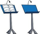 Lectern,Music,Sheet Music,Music Stand,Cartoon,Isolated,Isolated On White,Clip Art,Hobbies,Ilustration,Vector,Open,Podium,Musical Instrument Parts