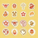 Easter,Rabbit - Animal,Symbol,Easter Egg,Chicken - Bird,Cross,Butterfly - Insect,Label,Lamb,Eggs,Yellow,Easter,Single Flower,Sunbeam,Holidays And Celebrations,Illustrations And Vector Art,Red,Orange Color,Celebration,Green Color,Heart Shape,Vector Icons,Brown,Holiday Symbols,Lily,Holiday