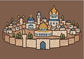 Jerusalem,Historical Palestine,Mosaic,Judaism,The Western Wall,Church Of The Holy Sepulchre,Christianity,Fortified Wall,Ancient,Israel,Islam,The Church Of Mary Magdalene,The Dome Of The Rock,Religion,Concepts And Ideas