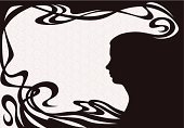 Frame,People,Design,Brown,Old-fashioned,Decoration,Adult,Art Nouveau,Illustration,Women,Vector,Retro Styled,Background,Profile,Illustrations And Vector Art