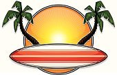 Surfboard,Surfing,Palm Tree,Beach,Tropical Climate,Sun,Sunlight,Summer,Tree,Exploding,Vector Cartoons,Sports And Fitness,Illustrations And Vector Art,Copy Space