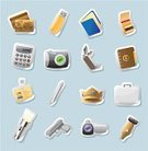 Belongings,Crown,Symbol,Camera - Photographic Equipment,Credit Card,Personal Accessory,Pen,Gold Card,Label,Blue,Computer Graphic,Personal Organizer,Icon Set,Sticky,Calculator,Gold Colored,Lifestyle,Notebook,USB Flash Drive,Ilustration,Vector,Match,Ring Binder,Flashlight,Black Color,Yellow,Illustrations And Vector Art,Vector Icons,Briefcase,Penknife,Home Video Camera,Silver Colored,Clip Art,Nib,Badge,Handgun,Objects/Equipment