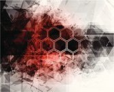Technology,Backgrounds,Red,Abstract,Black Color,Striped,Pattern,Hexagon,Gray,Square Shape,Vector,Wallpaper Pattern,Grunge,Backdrop,Design Element,Decoration,Ilustration,Shape,Horizontal