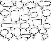 Speech Bubble,Thought Bubble,Cartoon,Symbol,Sketch,Icon Set,Talking,Speech,Talk,Black And White,Discussion,Vector,Black Color,Isolated On White,Ilustration,Collection