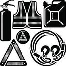Reflective Clothing,Towing,Symbol,Hook,Computer Icon,Harness,Fire Extinguisher,Gas Can,Jacket,Silhouette,Safety,Warning Triangle,Motorsport,Part Of Vehicle,Black And White,Circle,Design Element,Vector,Triangle,Warning Symbol,Safety Equipment,Single Object,Illustrations And Vector Art,Isolated On White,Isolated Objects,Clip Art,No People,Warning Sign,Contour Drawing,Danger,Repairing,Rope,Equipment,Icon Set,Outline,Vector Icons,Objects/Equipment