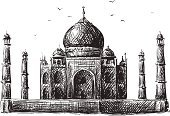Taj Mahal,India,Sketch,Line Art,Castle,Tourism,Black And White,Pencil,Travel Destinations,Bird,Hand-drawn,Architecture And Buildings,Illustrations And Vector Art,Famous Place,Travel,Travel Locations,Places Of Worship,Isolated,Vector,Pencil Drawing,Ilustration,Mausoleum