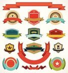 Insignia,Retro Revival,Label,Badge,Old-fashioned,Ribbon,Set,Vector,Collection,Vector Icons,Illustrations And Vector Art,Symbol,Sign