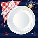 Picnic,Fourth of July,Invitation,Plate,Napkin,Tablecloth,Patriotism,Checked,Paper Plate,US Memorial Day,Fork,Summer,Independence Day,Kitchen Utensil,Food And Drink,Illustrations And Vector Art,Holidays And Celebrations,Table Knife,Firework Display,Holiday,Pyrotechnics,Sparkler,USA,Crockery