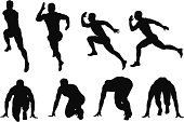 Running,Jogging,Silhouette,Track And Field,Sports Race,Athlete,Starting Line,Competition,Beginnings,Male,Isolated,Sports Shoe,Men,Action,Speed,Sport,People,Multiple Image,One Person,Vector,Kneeling,On The Move,Healthy Lifestyle,Motion,White Background,Cut Out,Front View,Digitally Generated Image,One Man Only,Competitive Sport,Clip Art,Computer Graphic,Bending,Side View,Vector Graphics,Studio Shot,Leisure Activity,Ilustration,Full Length,Digital Composite,Sports Clothing,Effort,Horizontal,Shorts,Adult,Black And White