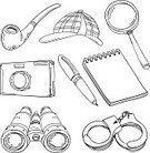 Magnifying Glass,Doodle,Glass - Material,Detective,Sketch,Pen,Handcuffs,Ilustration,Camera - Photographic Equipment,Pencil Drawing,Retro Revival,Black And White,Ring Binder,Old-fashioned,Notebook,Secrecy,Surveillance,Line Art,Mystery,Inspector,Symbol,Cut Out,White Background,Hat,Black Color,Lens - Optical Instrument,Sign,Cartoon,Challenge,Vector,Smoking,Icon Set,Computer Graphic,Crime,Outline,Isolated,Security,Design,Criminal