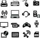 Silhouette,Computer Keyboard,Symbol,Computer Icon,Computer,Computer Printer,Laptop,Icon Set,Black Color,Joystick,Appliance,Computer Mouse,Home Video Camera,Radio,Headphones,Computer Monitor,Simplicity,Photograph,Set,Global Communications,Sound,Equipment,Music Speakers,Sign,Technology,Design,Vector