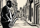 Cuba,Jazz,Women,Car,Music,Vector,Street,Saxophonist,Saxophone,Afro,Musical Instrument,Drawing - Art Product,Ilustration,The Sopranos,African Descent,Arts And Entertainment,Architecture And Buildings,Illustrations And Vector Art,Music,Sound,Tube,Playing,Palm Tree