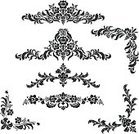 Pattern,Floral Pattern,Black And White,Flower,Corner,Decoration,Victorian Style,Ornate,Retro Revival,Old-fashioned,Plant,Black Color,Vector,White,Design,Vignette,Illustrations And Vector Art,Vector Florals,Isolated,Isolated Objects,Design Element,Ilustration,Leaf,Set