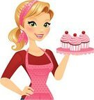 Women,Cupcake,Baker,Blond Hair,Apron,Cheerful,Female,Food,Happiness,Cute,Ponytail,Femininity,Beautiful,Hobbies,Dessert,Pink Color,Green Eyes,Beauty,Domestic Life,One Woman Only,Polka Dot,Baking,Vector Cartoons,People,Illustrations And Vector Art,Confidence,Food And Drink
