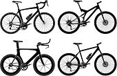 Bicycle,Mountain Bike,Silhouette,Computer Icon,Symbol,Racing Bicycle,Road,Cycle,Black And White,Mountain,Sports Race,Vector,Ilustration,Mountain Biking,Sport,Carbon,Set,Isolated On White,Black Color,Sports And Fitness,Isolated,Illustrations And Vector Art,Ten-speed Bicycle,Cut Out,Full Suspension,Single Object,Carbon Fiber,No People,Objects/Equipment