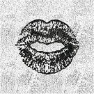 Black And White,Human Lips,Textured Effect,Textured,Vector,Grunge,Love,Illustrations And Vector Art,Design Element,Symbol,Lipstick Kiss,Ilustration