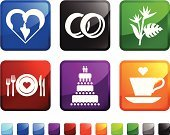 Wedding Ring,Wedding Reception,Vector,Wedding Cake,Icon Set,Togetherness,Leaf,Plate,Bonding,Green Color,Heterosexual Couple,Tropical Climate,Square,Cake,Blue,Tropical Flower,Married,Symbol,Interface Icons,Computer Icon,Love,Square Shape,Red,White Background,Tropical Tree,Engagement,Design,Heart Shape,Cup,Vacations,Black Color,Label,Honeymoon,Ilustration,No People,Plant