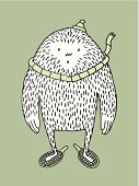 Yeti,Monster,Monkey,Eccentric,Snowman,Ape,Cute,Snow,Animal,Giant,Paintings,Cold - Termperature,Large,Cheerful,Hairy,Hat,Ugliness,Illustrations And Vector Art,Vector Cartoons,Winter,Standing,Animals And Pets,Scarf,Bonnet,Racket,Ilustration,Spooky,Overweight,Fur,Cartoon