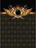 Military,Wing,Crown,Frame,Saber,Decoration,Shiny,Elegance,Concepts And Ideas,Backgrounds,Ribbon,Vector,Shield,Arts And Entertainment,Ilustration,Single Object,Retro Revival,Arts Backgrounds,Backdrop,Arm,Art,Staring,Curled Up,Gold Colored,Power,Ornate,Computer Graphic,Curve,Illustrations And Vector Art,Vector Backgrounds,Decor,Leaf,Shape,Insignia