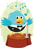 Bird,Cartoon,Tuxedo,Vector,Opera Singer,Singing,Microphone,Music,Passerine,Singer,Cute,Full Suit,Bluebird,Birdsong,Opera,Suit,Illustrations And Vector Art,Ilustration,Music,Nature,Blue,Performance,Musical Note,Tree,Bow Tie,Arts And Entertainment,Animals And Pets,Well-dressed,Birds