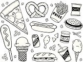 Doodle,Food,Pizza,Take Out Food,Sketch,Unhealthy Eating,Hot Dog,Fast Food,Pretzel,Symbol,Beer - Alcohol,Corn Dog,Hamburger,Sandwich,Submarine Sandwich,Potato Chip,Pencil Drawing,Black And White,Salsa,Cotton Candy,Snack,French Fries,Soda,Icon Set,Tortilla Chip,Ice Cream,Popcorn,Drawing - Art Product,Ilustration,Ice Cream Cone,Fried Chicken,Fast Food French Fries,Chicken Leg,Vector Icons,Illustrations And Vector Art,Vector Cartoons,Pepperoni Pizza,Food And Drink,Cheeseburger,Junk Food/Fast Food