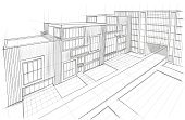 Architecture,Sketch,Building Exterior,Built Structure,Building - Activity,Urban Scene,City,Industry,Construction Industry,Cityscape,Planning,House,Office Building,Surrounding Wall,Modern,Space,Wall,Vanishing Point,Design,Styles,White,Painted Image,Steel,Inspiration,Ilustration,Business,City Life,Ideas,Creativity,Frame,Outdoors,No People,Facade,Architecture And Buildings,Large,Isolated,Tower,Residential Structure,Paintings,Illustrations And Vector Art,Horizontal,Style,Shape,Mansion,Metal,Technology,Imagination,Vertical,Industry,Window,Glass - Material,Concepts,Light - Natural Phenomenon