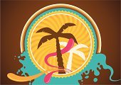 Summer,Splashing,Beach,Tree,Color Image,Relaxation,Poster,Vector,Design,Multi Colored,Ilustration,Sunlight,Wave,Water,Sea,Season,Palm Tree,Vacations