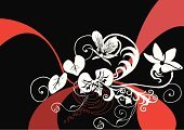 Orchid,White,Vector,Black Color,Red,Design,Ilustration,Abstract,Art,Backgrounds,Computer Graphic,Ornate,Spiral,Plant,Clip Art,Nature,Flowers,Horizontal,No People,Pencil Drawing,Creativity,Elegance
