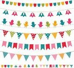 Bunting,Party - Social Event,Banner,Birthday,Flag,Pennant,Scrapbook,Bird,Cute,Ilustration,Design Element,Vector,Decoration,Isolated,Set,Celebration,Multi Colored