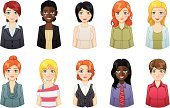 Avatar,Business Person,Symbol,Human Face,People,Women,Computer Icon,Icon Set,Businesswoman,Business,Blond Hair,African Descent,Manager,Office Interior,Occupation,One Person,Teamwork,Team,Leadership,Vector Icons,Business People,Expertise,Illustrations And Vector Art,Cheerful,Professional Occupation,People,Redhead,Business