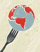 Globe - Man Made Object,Planet - Space,Sphere,Earth,World Map,Food,Fork,Retro Revival,Hungry,1940-1980 Retro-Styled Imagery,Earth Day,Global Business,Poverty,Symbol,Vector,Famine,Grunge,Gourmet,Ilustration,Ideas,Nature,Kitchen Utensil,Silk Screen,Lifestyles,Simplicity,Red,Environment,Green Color,Pollution,Environmental Conservation,Natural Disaster,No People,Greed,Textured Effect,consequences,Problems,Global Warming,Vertical,Nature,Food And Drink,Negative Emotion,Damaged,Nature Symbols/Metaphors,World Cuisine,Modern Life,Copy Space,Concepts And Ideas,Environmental Damage,Global Hunger,Concepts,Risk,Fragile,Fragility