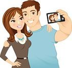 Couple,Heterosexual Couple,Cheerful,Happiness,Camera - Photographic Equipment,Photographing,Cartoon,Photography,Women,Self Portrait Photography,Smiling,Men,Dating,Candid,Love,Flirting,Brown Hair,Posing,Boyfriend,Girlfriend,Ilustration,Portrait,Vector,People,Cute,Digital Camera,People,Adults,Lifestyle,Illustrations And Vector Art,Vector Cartoons,Caucasian Ethnicity