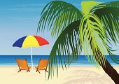 Beach Umbrella,Beach,Summer,Vacations,Outdoor Chair,Palm Tree,Sea,Sand,Vector