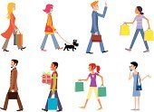 Walking,People,Shopping,Men,Women,Dog,Street,Mobile Phone,City,Bag,Briefcase,Discussion,Gift