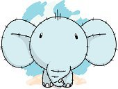 Elephant,Young Animal,Cute,Doodle,Drawing - Art Product,Ilustration,Animals And Pets,hand drawn,Happiness,Vector
