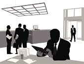 Office Interior,Silhouette,Digital Tablet,Businessman,Working,Occupation,Business,Desk,People,Door,Business Person,Outline,Vector,Using Computer,Computer,Group Of People,Discussion,Focus on Shadow,Entrance,Ornate,Backgrounds,Computer Graphic,Desk Organizer,Illustrations And Vector Art,Ceiling,Computer Monitor,Liquid-Crystal Display,Suit,Digitally Generated Image,Tie,The Human Body,Office Worker,Ilustration,Black Color,Choice,Job - Religious Figure,Decisions,Talking