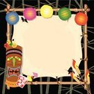 Luau,Hawaiian Culture,Invitation,Tiki,Party - Social Event,Birthday,Tropical Climate,Tiki Torch,Outdoors,Greeting Card,Lantern,Cocktail,Drink,Retro Revival,Illustrations And Vector Art,Parties,Copy Space,Bamboo,tiki head,1940-1980 Retro-Styled Imagery,Vector Backgrounds,Bamboo,Night,Birthdays,Holidays And Celebrations,Pool Party